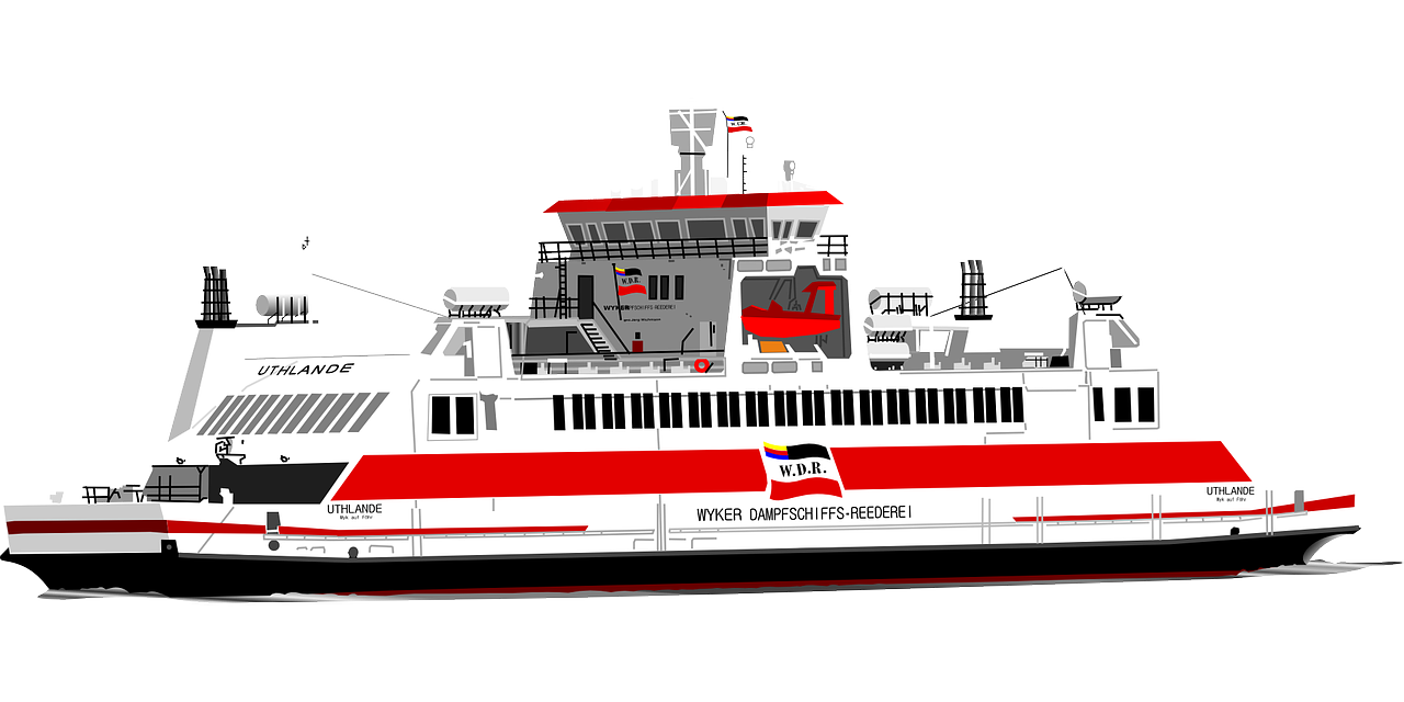 Ferry Boat Sea Ship Red PNG.