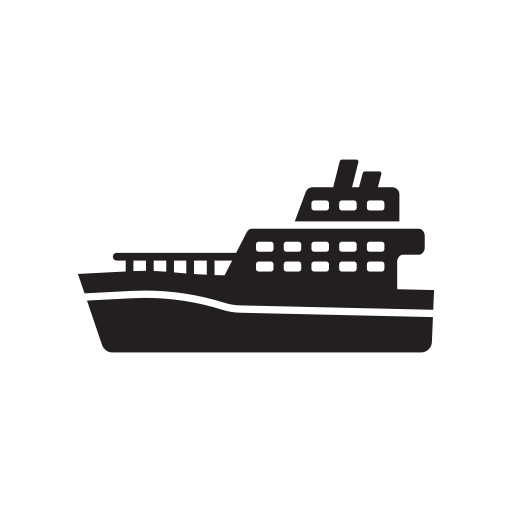 Boat, ferry, ship, train, transport, transportation icon.