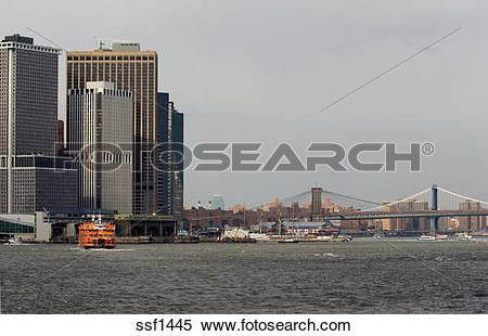Stock Image of Staten Island Ferry pulls into ferry terminal.