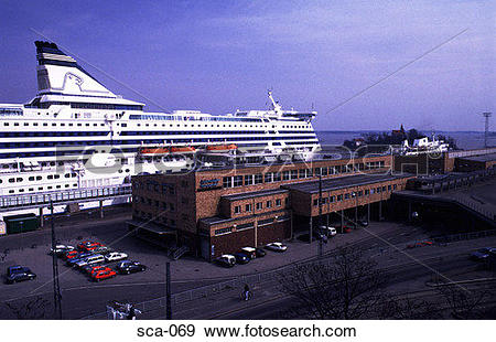 Stock Photograph of Ship at Ferry Terminal Helsinki Finland sca.