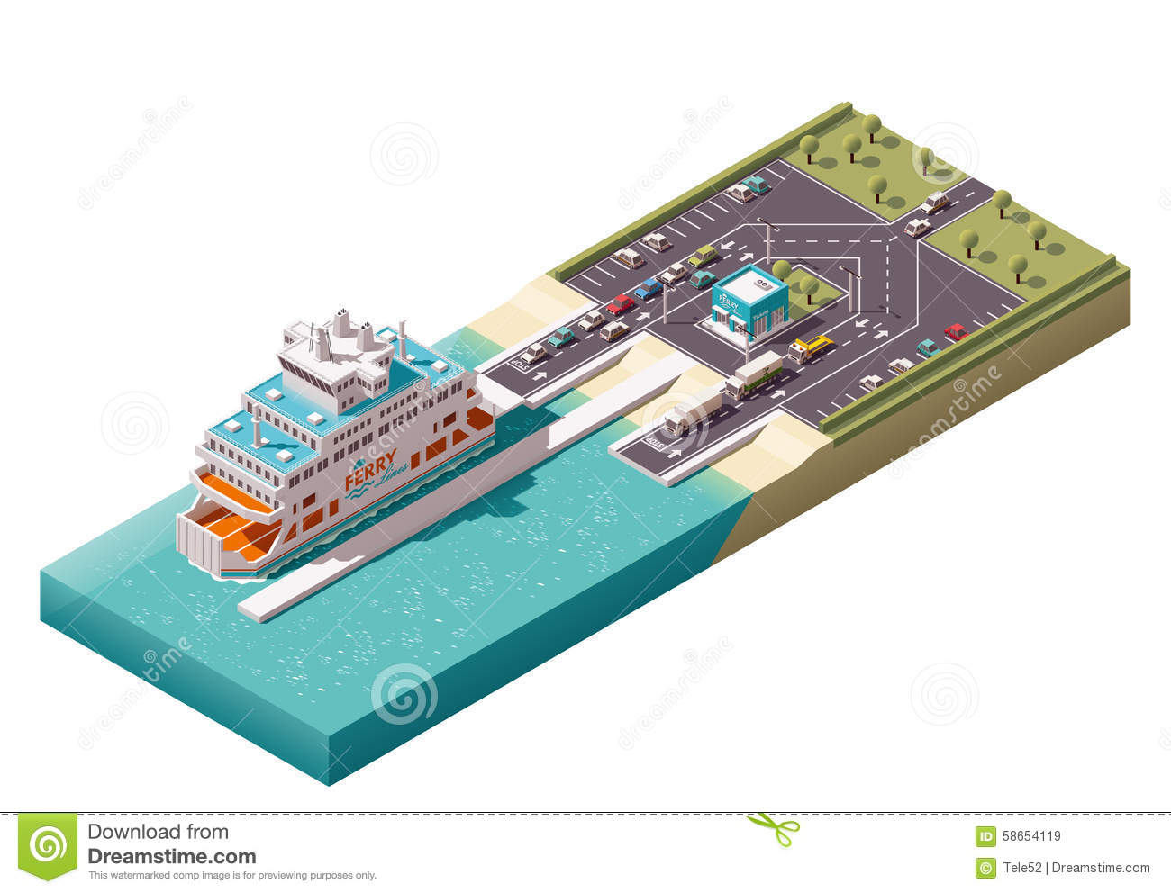 Vector Isometric Ferry Port Stock Vector.