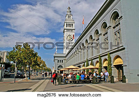 Stock Images of People at Ferry Terminal Market San Francisco.
