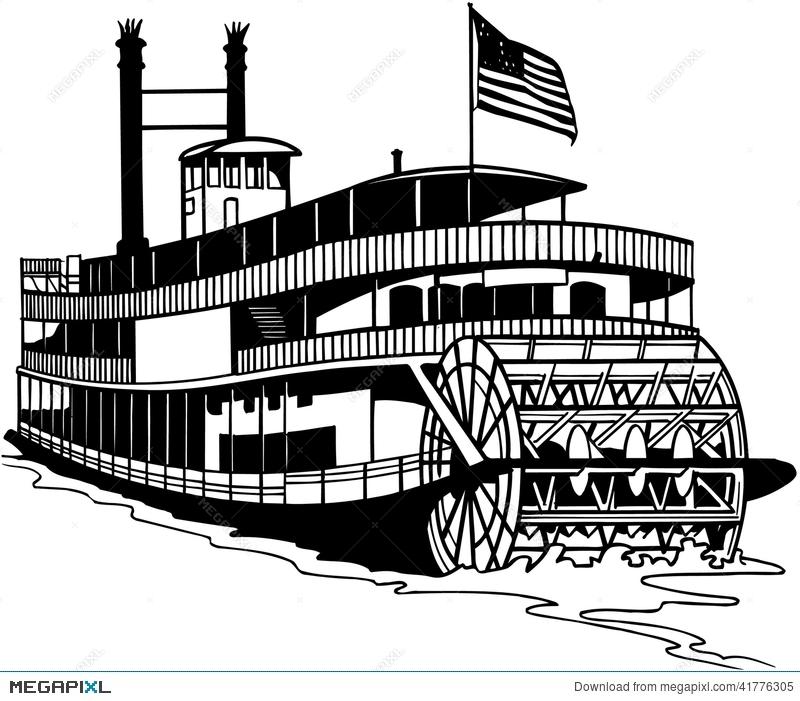 Old Ferry Boat Cartoon Vector Clipart Illustration 41776305.