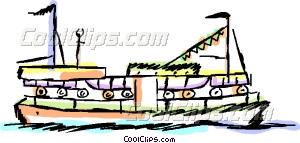 Ferry boat Vector Clip art.