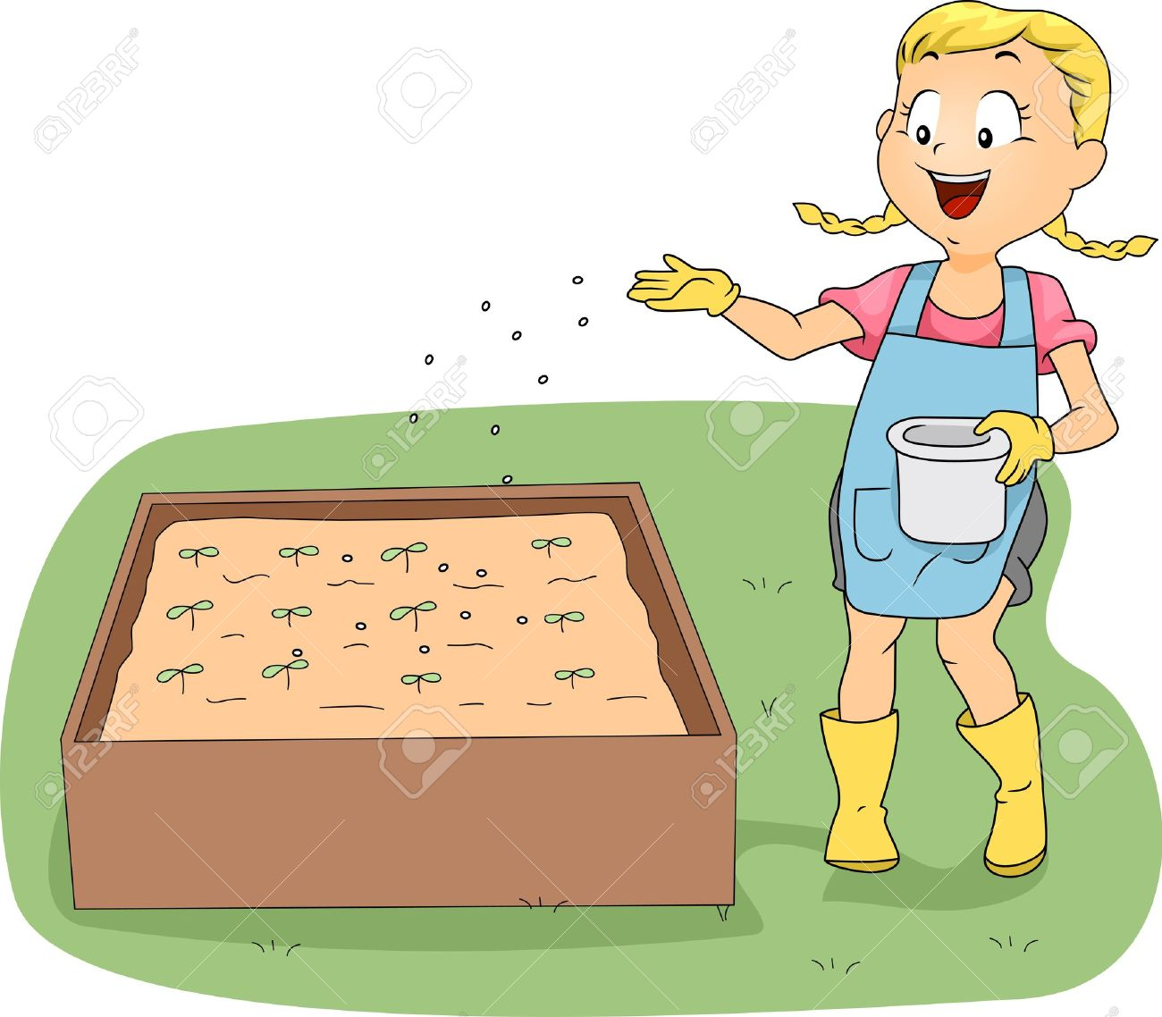 Illustration Of A Girl Fertilizing Plants Stock Photo, Picture And.