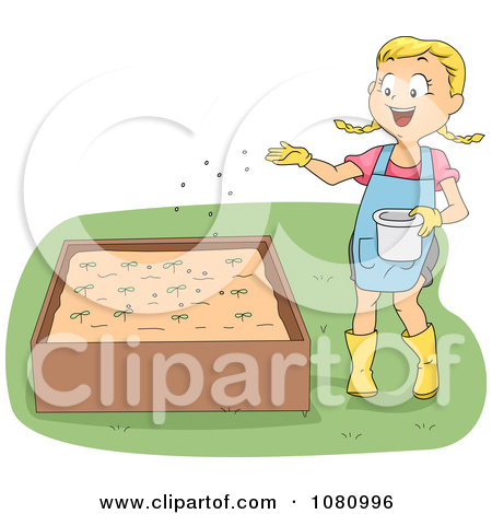 Clipart Girl Fertilizing Seedlings In A Planter.