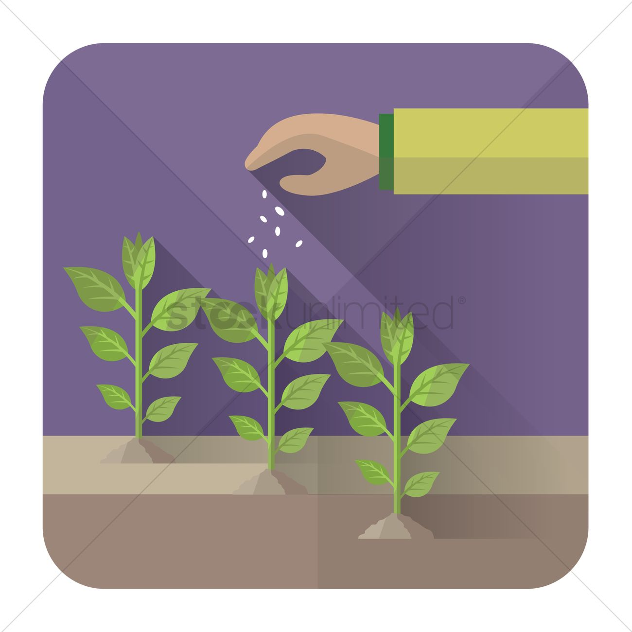 Hand putting fertilizers on plants Vector Image.