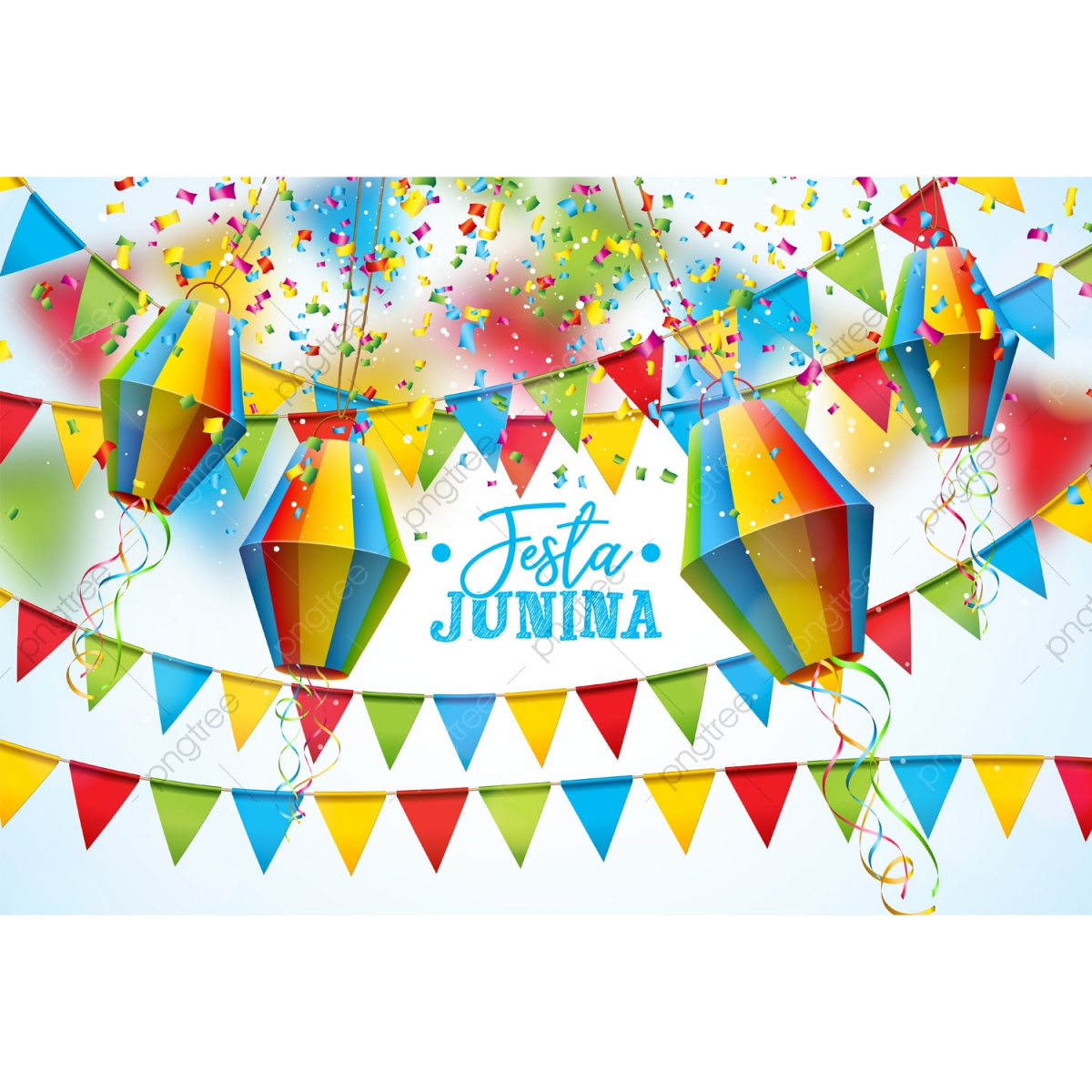 Festa Junina Illustration With Party Flags And Paper Lantern On.