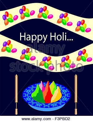 Holi The Festival Of Colours Vector Art Stock Photo, Royalty Free.