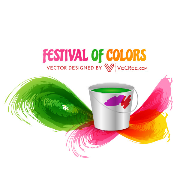 Festival of Colors Holi Color Bucket Free Vector.