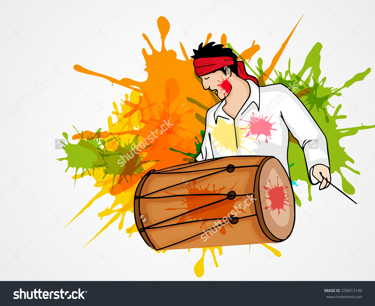 Young Man Playing Drum On Splash Stock Vector 250013149.