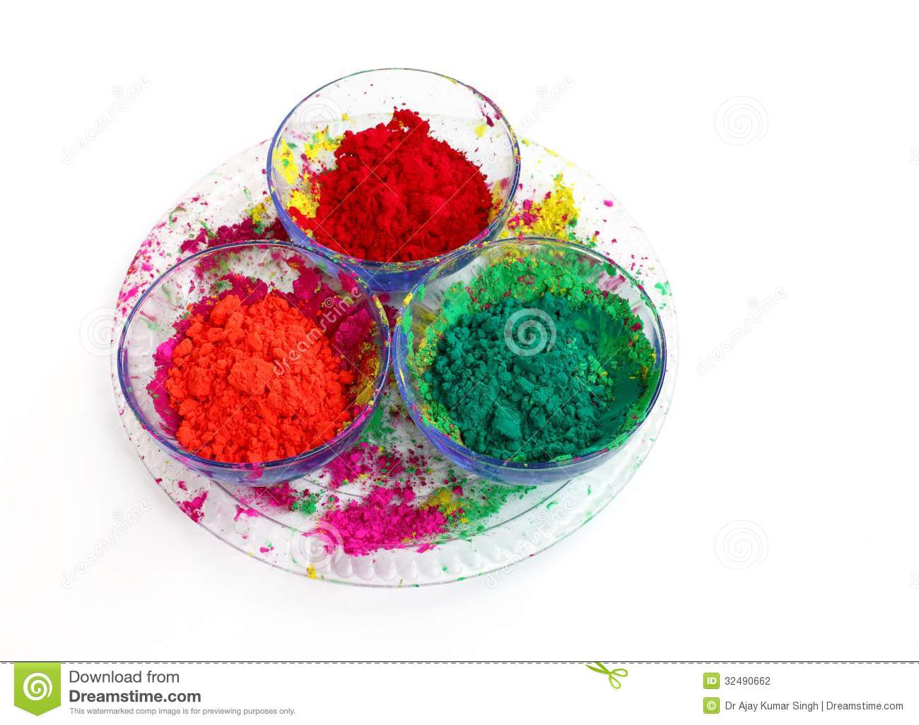 Different Colours For Holi Festival Stock Photography.