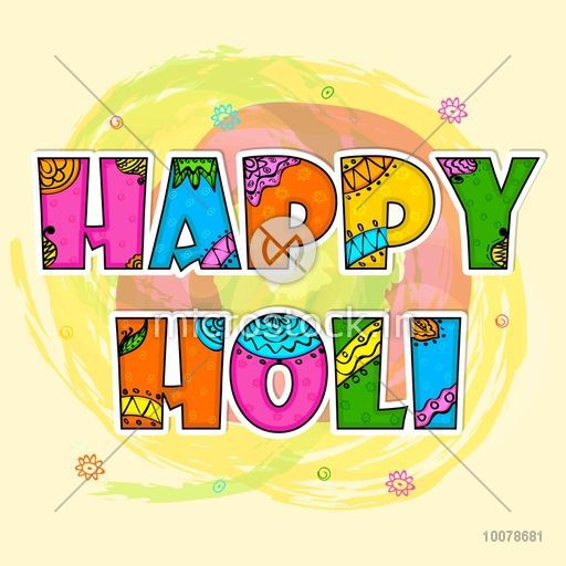 Beautiful floral design decorated colourful text Happy Holi on.