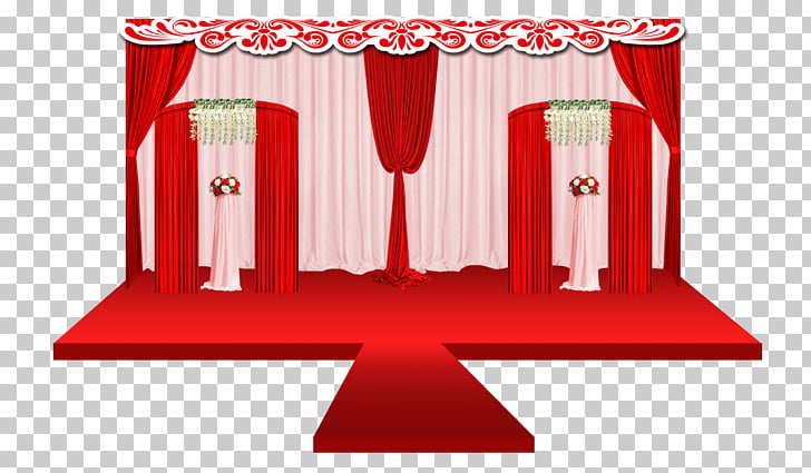 Stage Fundal, Red Chinese wind festival stage PNG clipart.