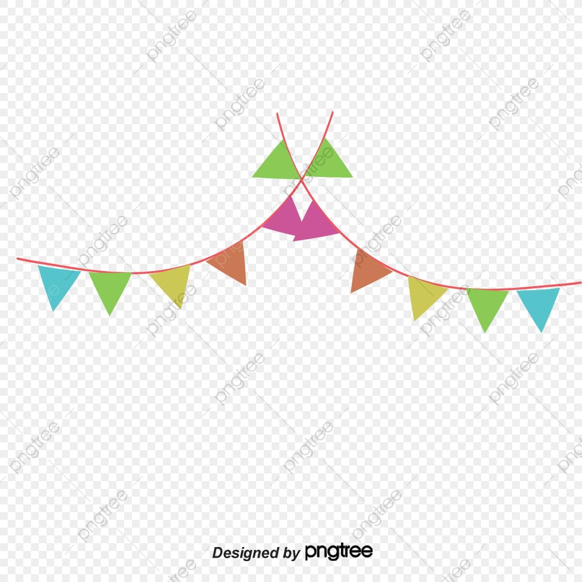 Vector Color Festivals Triangle Flag Hanging Flag Decoration, Color.