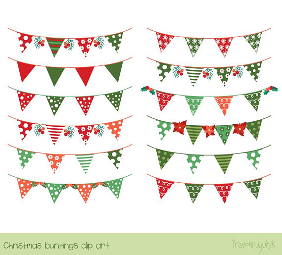 Christmas bunting clipart, Banner flag clip art, Holiday.