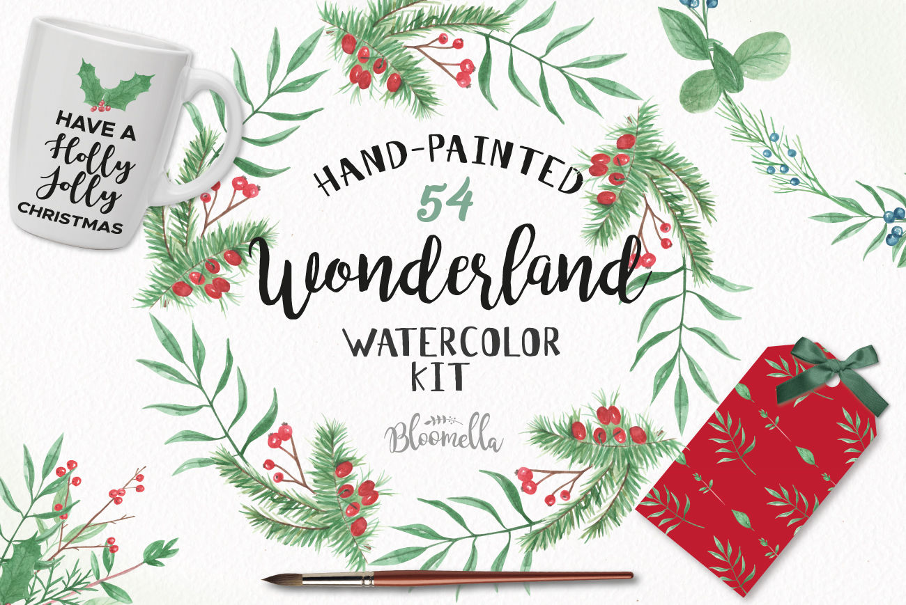Wonderland Winter Package Festive Christmas Clipart.