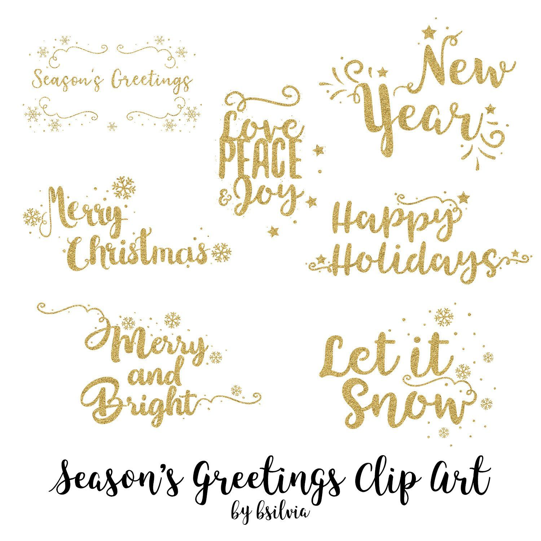 Season\'s Greetings Clip Art, Christmas Word Art Transparent.