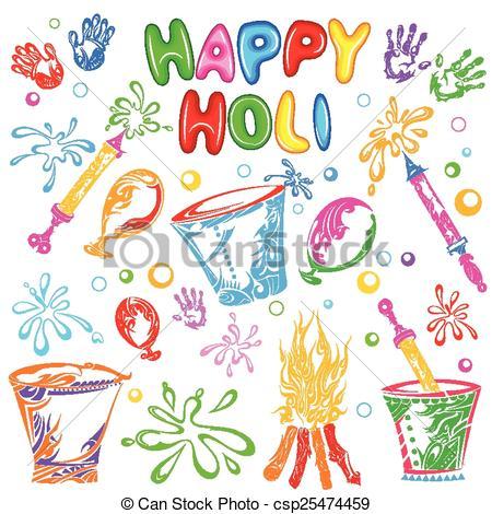 Clipart Vector of Object for Holi festival.