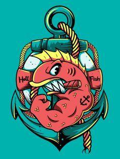 HellFish by Festo Illustrations, via Behance in 2019.