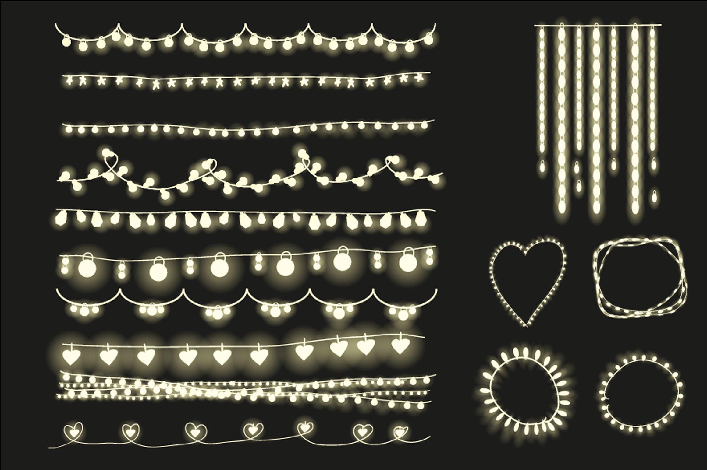 Fairy lights clipart, string lights. ~ Illustrations on.