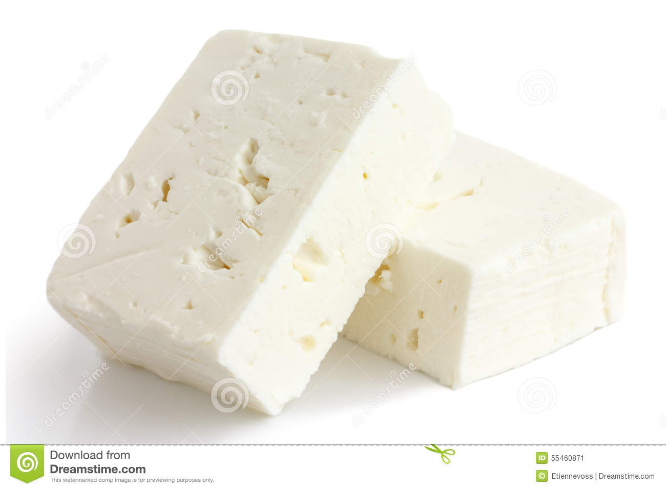 Greek Feta Cheese Block Isolated On White. Stock Photo.