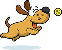 Dog playing fetch clipart.
