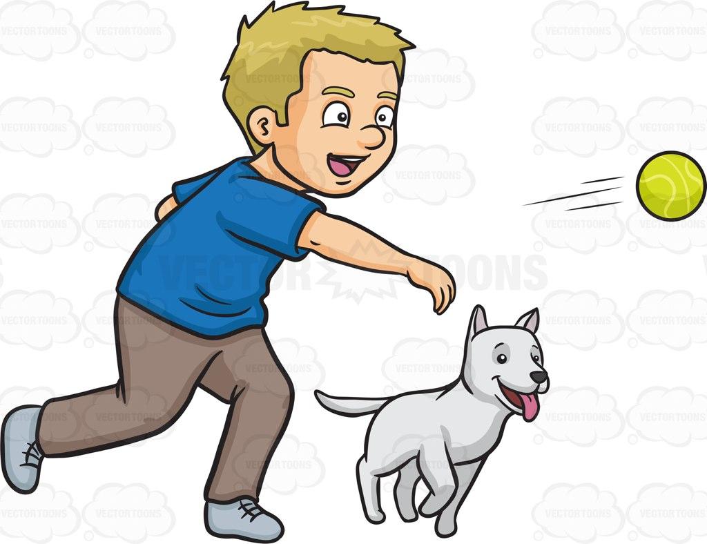 Dog Playing Fetch Clip Art.