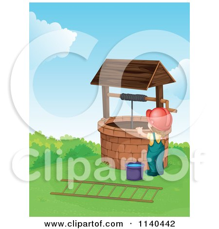 Clipart of a Woodcut Chinese Peasant Fetching Water, in Black and.