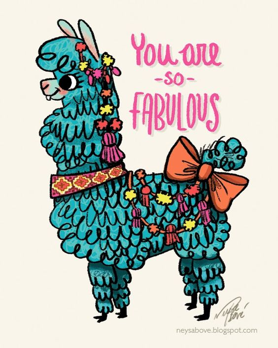 "Llama sketch ""you are SO fabulous"" design by Neysa Bové http."