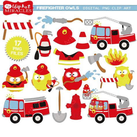 Firetruck clipart Firefighter party by MyPrintableMiracles.