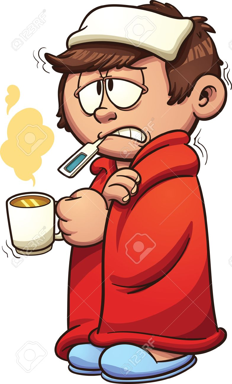 Kid sick with a cold and fever. Vector clip art illustration...