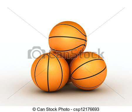 Stock Illustration of Stack few of piled up basketball balls.