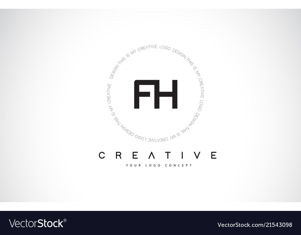 Fh f h logo design with black and white creative.