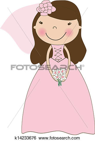 Clip Art of Fiance in the wind. Pretty lady in a flying wedding.