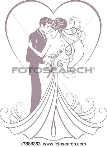 Clipart of bride and fiance k7888353.