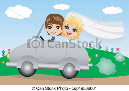 Vector Clipart of beautiful groom with fiancee go in a wedding.