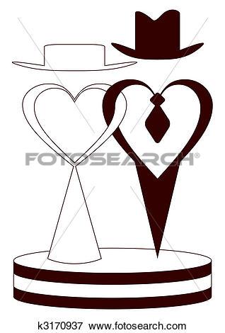 Clip Art of Fiance and fiancee. k3170937.