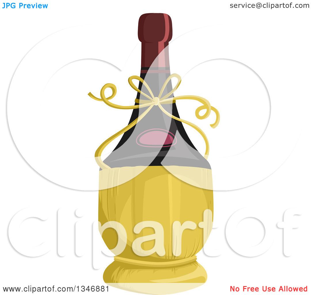Clipart of a Wine Bottle in a Fiasco Basket.