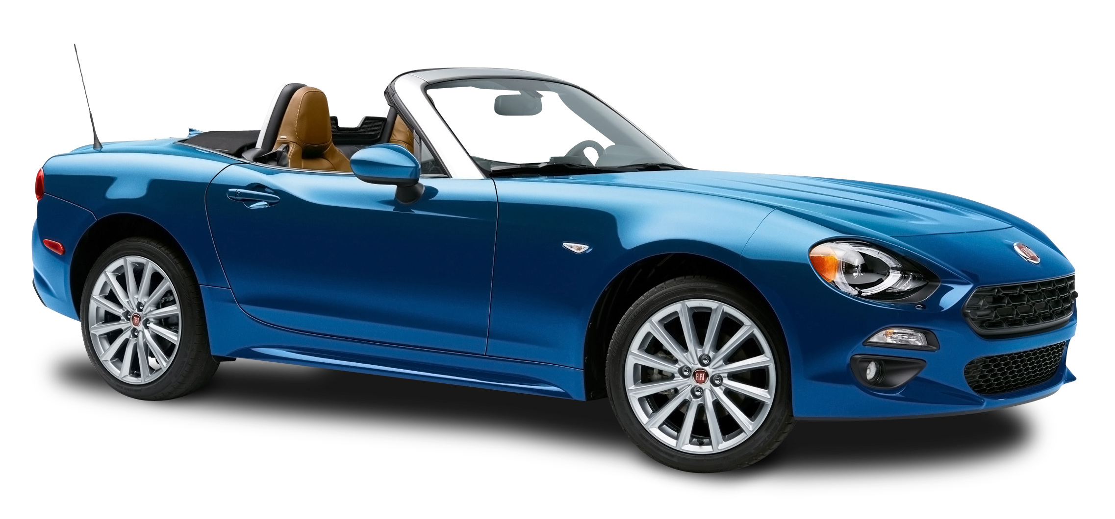 Blue Fiat 124 Spider Car PNG Image.