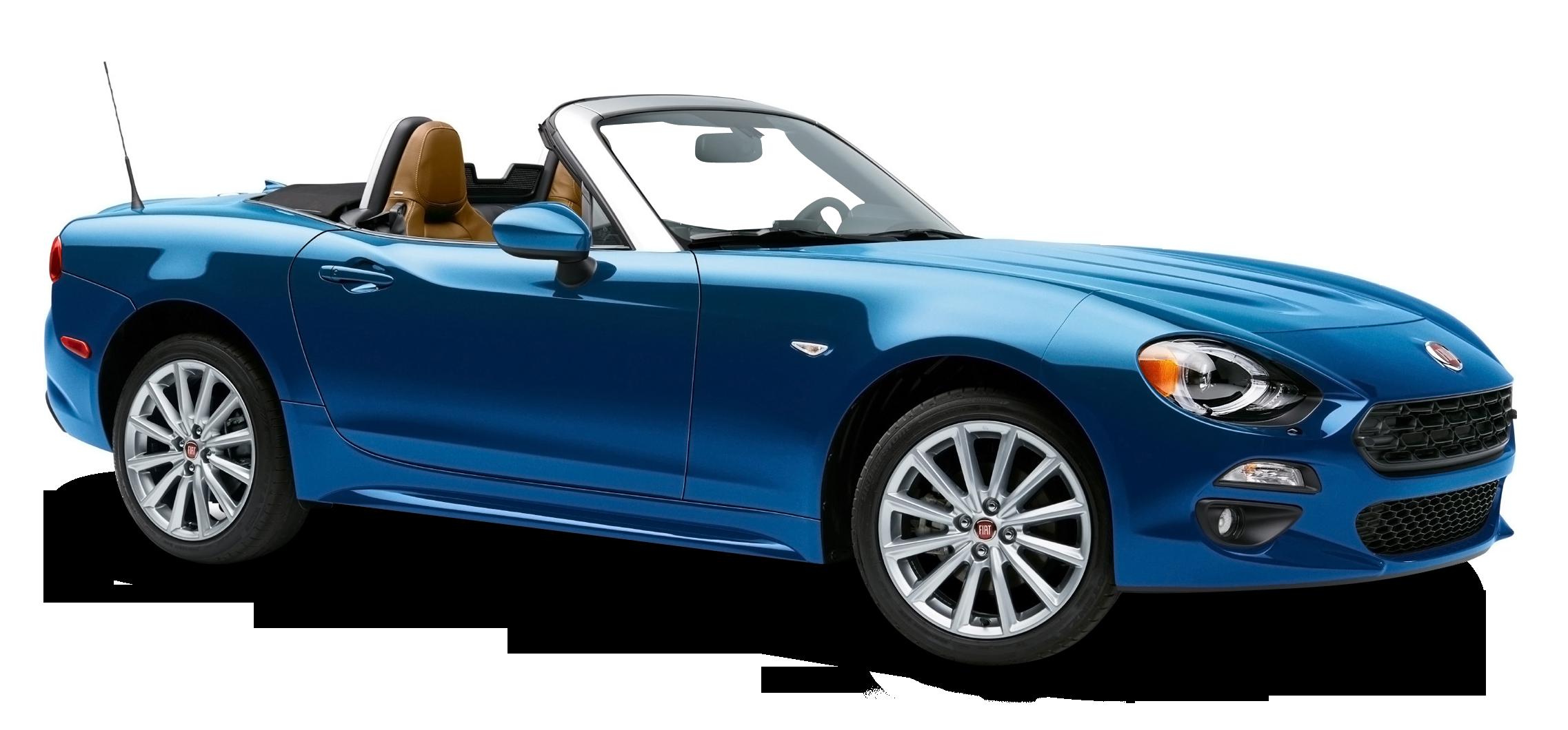 Blue Fiat 124 Spider Car PNG Image.