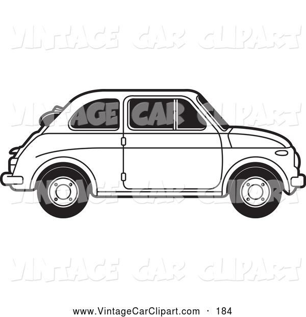 Clipart of a Black and White Vintage Fiat Car with Tinted Windows.