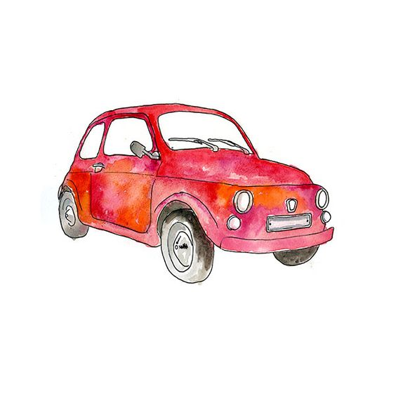 This is a watercolor of a classic Fiat which is so common in Paris.