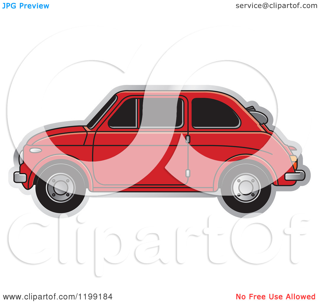 Clipart of a Vintage Red Fiat Car with Tinted Windows.