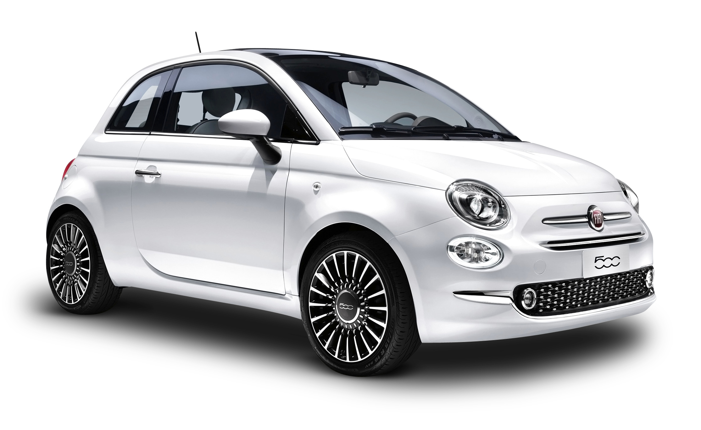 White FIAT 500 Car PNG Image.