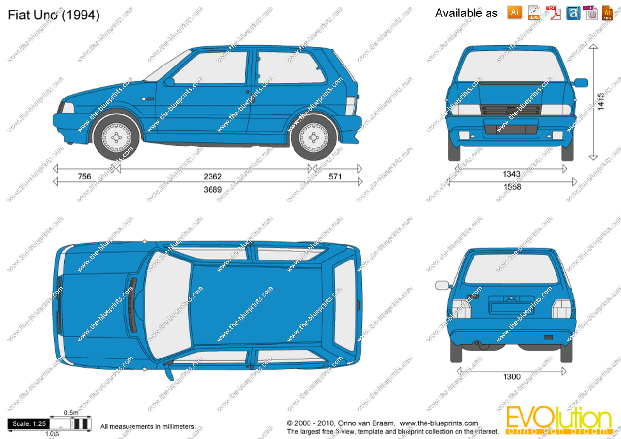 Fiat Uno vector drawing.
