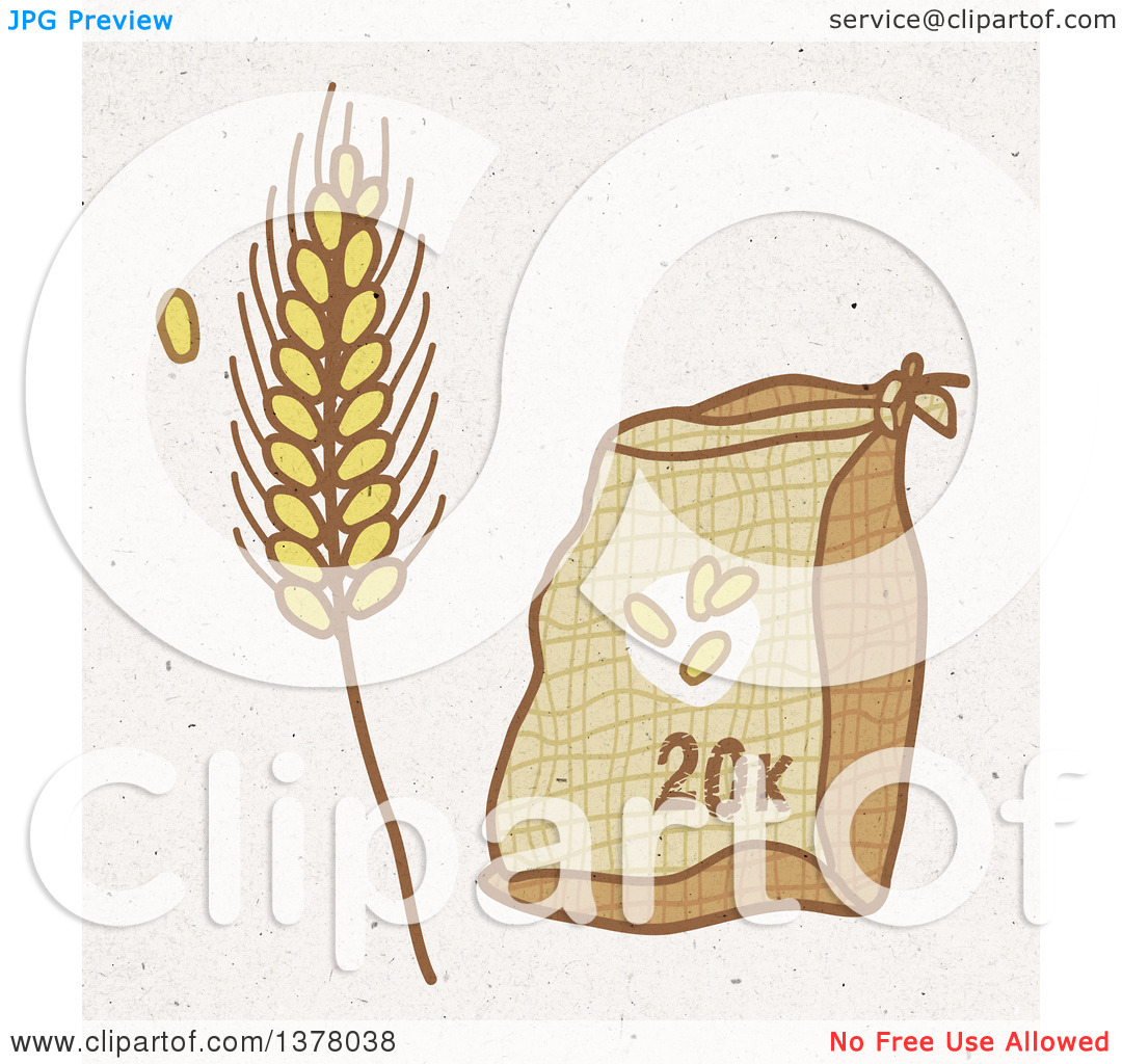 Clipart of a Sack of Wheat Flower and Strand on Fiber Texture.