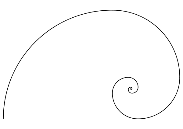 Fibonacci spiral Clipart.