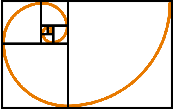 Fibonacci Spiral Orange clip art.