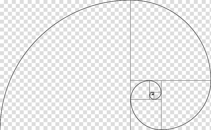 Black circular illustration, Fibonacci number Golden spiral.